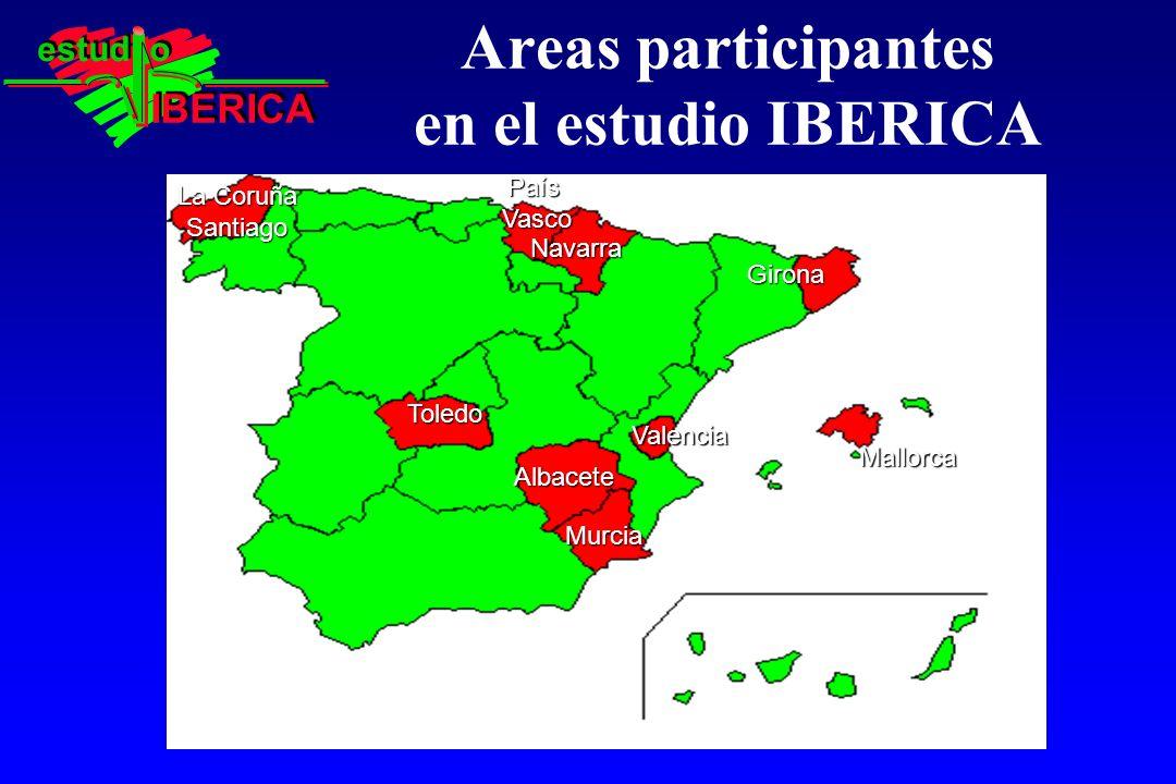 Areas participantes en el estudio IBERICA Girona Murcia Mallorca PaísVasco Navarra Toledo Albacete Albacete La Coruña Santiago Valencia IBERICA estud o