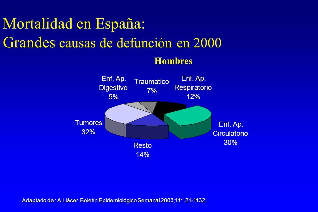 Hombres Enf. Ap. Circulatorio 30% Resto 14% Tumores 32% Enf.
