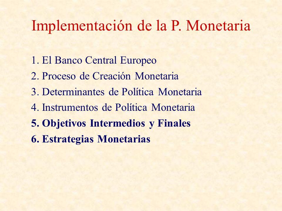 Criterios para la elección de objetivos intermedios Facilidad de medir – Los tipos de interés se miden instantáneamente, mientras que los agregados monetarios cuesta unas dos semanas.