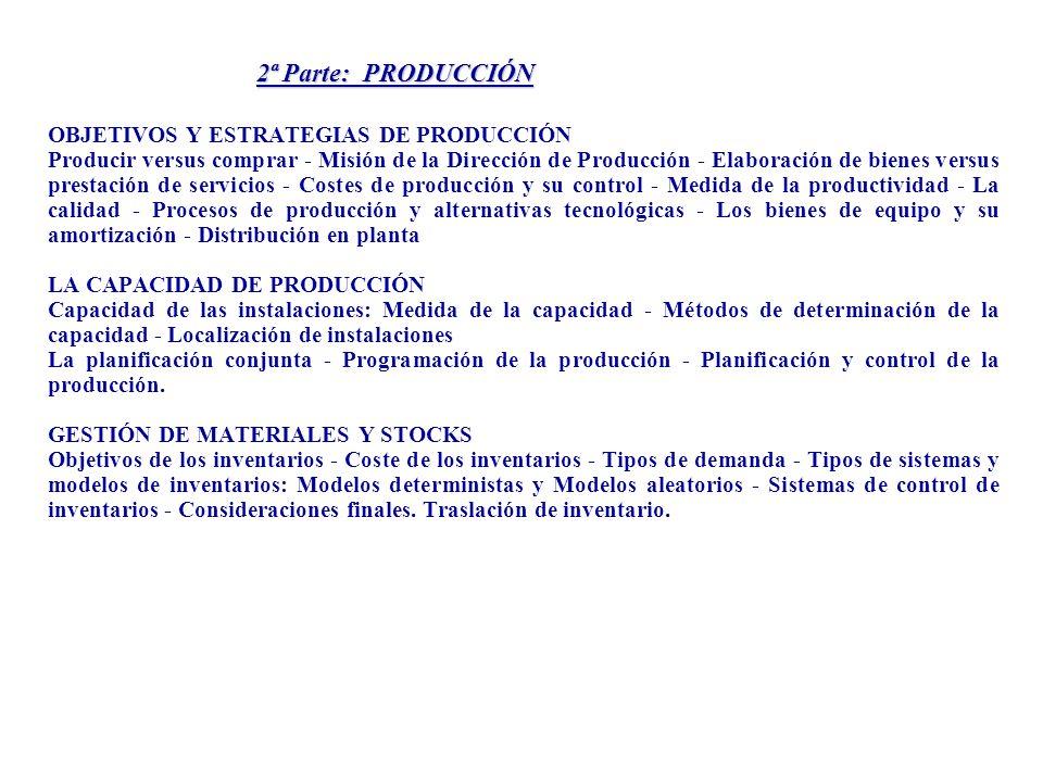 3ª Parte: MERCADOTECNIA FUNCIÓN COMERCIAL DE LA EMPRESA Orientación al cliente - El marketing como función empresarial - Función de demanda y su elasticidad - Estimación y previsión de la demanda ASPECTOS BÁSICOS DEL MERCADO Naturaleza y significado - Clasificación de los mercados - Funciones básicas - Libertad y regulación del mercado EL PRODUCTO: CONCEPTO Y DIFERENCIACIÓN Conceptos básicos - Ciclo de vida - Identificación del producto - Creación de nuevos productos - Diferenciación y posicionamiento de marcas EL PRECIO Y SU DETERMINACIÓN Conceptos básicos - Determinación de precios - Estrategias de precios - Discriminación de precios PROMOCIÓN Y DISTRIBUCIÓN La promoción de ventas - La distribución - Los canales de distribución - El papel de los intermediarios - La venta personal - Papel de la publicidad INVESTIGACIÓN Y SEGMENTACIÓN Investigación comercial - Segmentación de mercados - Métodos de segmentación - Métodos matemáticos y estadísticos de apoyo a la investigación