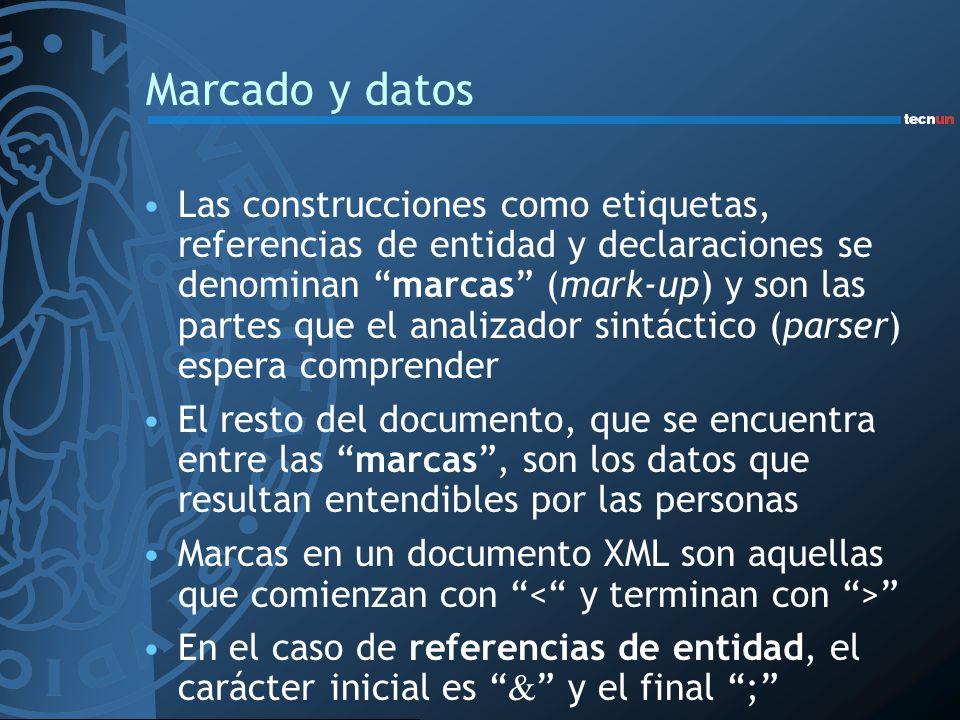 Marcado y datos Las construcciones como etiquetas, referencias de entidad y declaraciones se denominan marcas (mark-up) y son las partes que el analiz