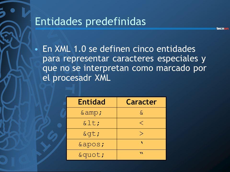 Entidades predefinidas En XML 1.0 se definen cinco entidades para representar caracteres especiales y que no se interpretan como marcado por el proces