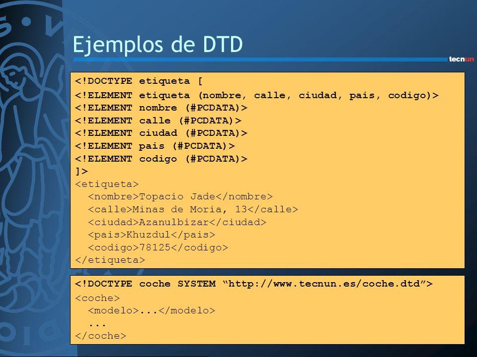 Ejemplos de DTD <!DOCTYPE etiqueta [ ]> Topacio Jade Minas de Moria, 13 Azanulbizar Khuzdul 78125...