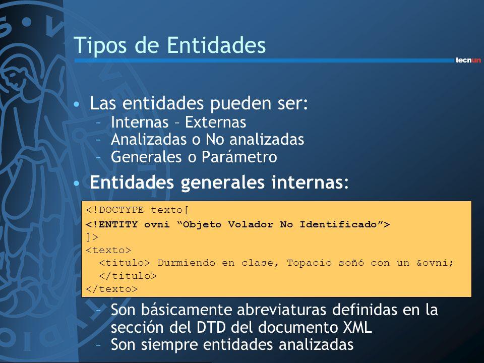 Tipos de Entidades Las entidades pueden ser: –Internas – Externas –Analizadas o No analizadas –Generales o Parámetro Entidades generales internas: –So