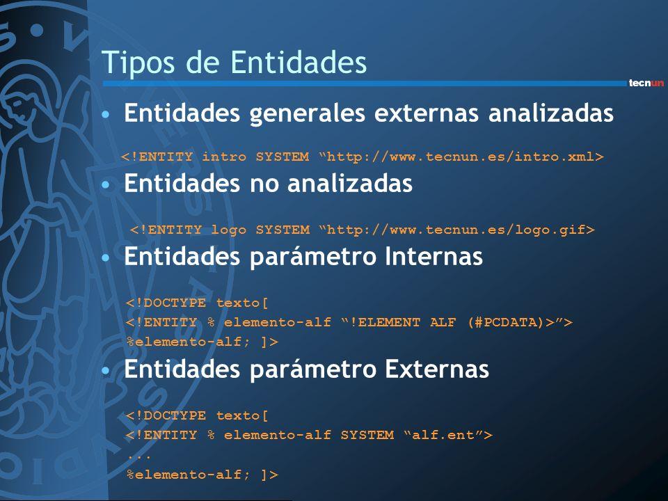 Tipos de Entidades Entidades generales externas analizadas Entidades no analizadas Entidades parámetro Internas <!DOCTYPE texto[ > %elemento-alf; ]> E