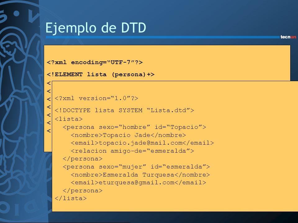 Ejemplo de DTD <!ATTLIST relacion amigo-de IDREFS #IMPLIED enemigo-de IDREFS #IMPLIED> Topacio Jade topacio.jade@mail.com Esmeralda Turquesa eturquesa