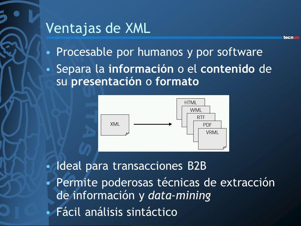 Ventajas de XML Procesable por humanos y por software Separa la información o el contenido de su presentación o formato Ideal para transacciones B2B P