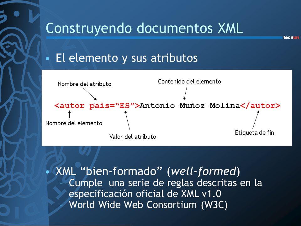 Construyendo documentos XML El elemento y sus atributos Antonio Muñoz Molina XML bien-formado (well-formed) –Cumple una serie de reglas descritas en l
