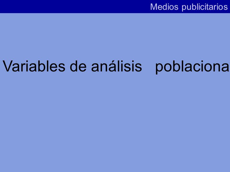 Variables de análisis poblacional Variables relativas al análisis de medios o soportes individuales Variables relativas al análisis de varios soportes