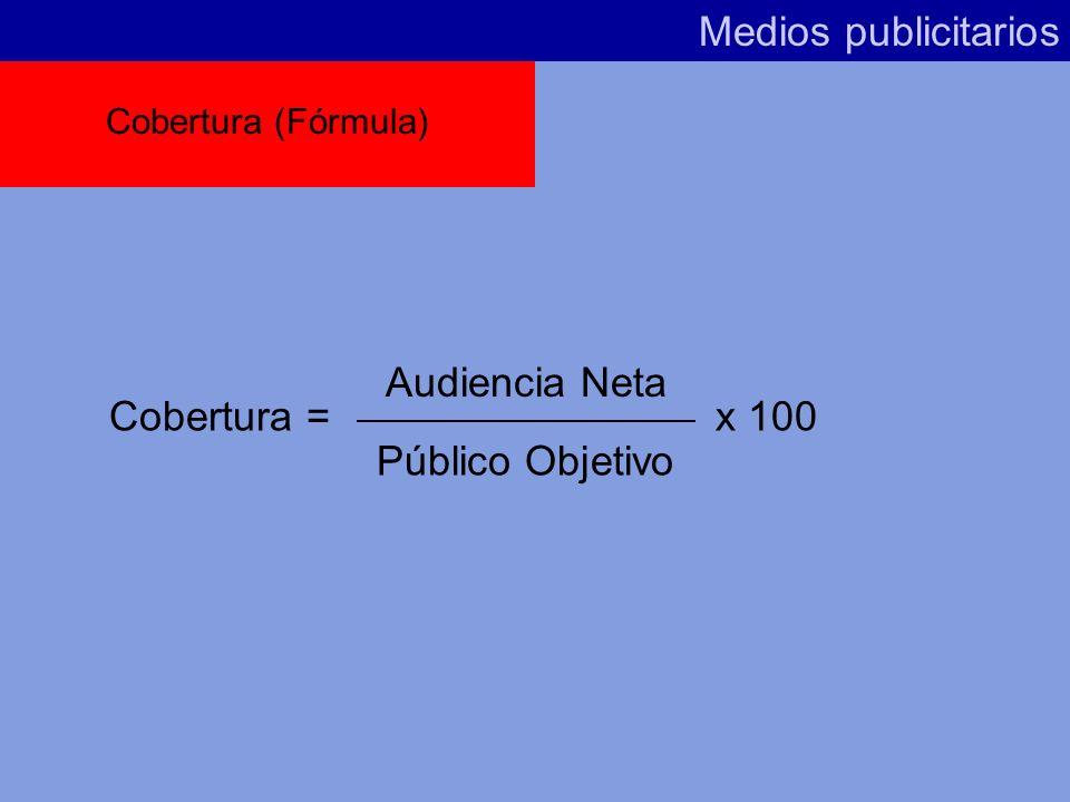 Medios publicitarios Recordamos el concepto Audiencia Neta. La Cobertura es lo mismo que la Audiencia Neta, pero expresada en porcentaje sobre el Públ