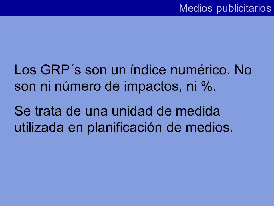 6º/ GRP´S Medios publicitarios Son la suma de todos los puntos de rating obtenidos por las inserciones realizadas, sobre la base del PO.