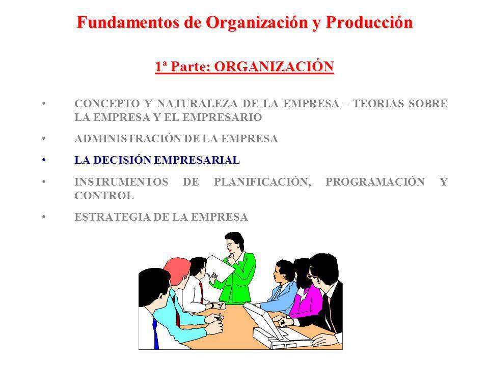Fundamentos de Organización y Producción 1ª Parte: ORGANIZACIÓN CONCEPTO Y NATURALEZA DE LA EMPRESA - TEORIAS SOBRE LA EMPRESA Y EL EMPRESARIO ADMINIS
