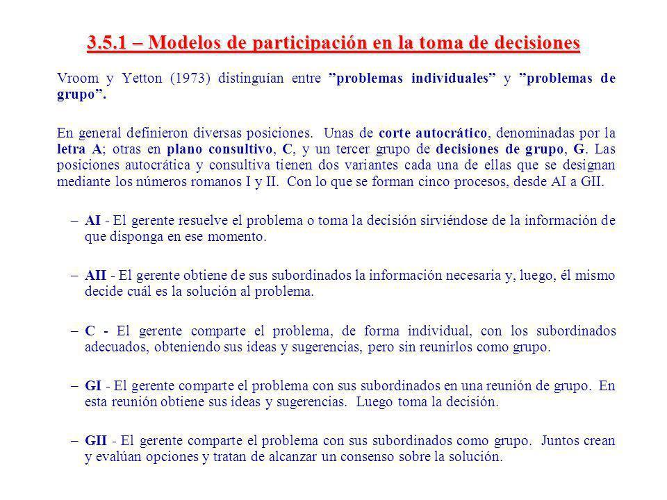 3.5.1 – Modelos de participación en la toma de decisiones Vroom y Yetton (1973) distinguían entre problemas individuales y problemas de grupo. En gene