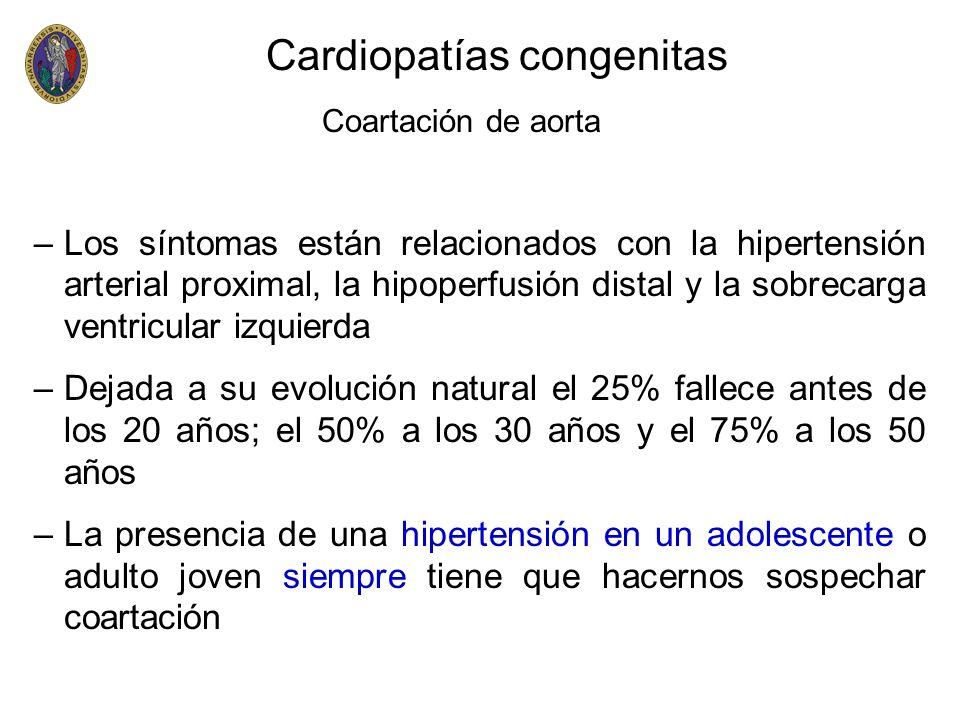 Cardiopatías congenitas Coartación de aorta –Los síntomas están relacionados con la hipertensión arterial proximal, la hipoperfusión distal y la sobre