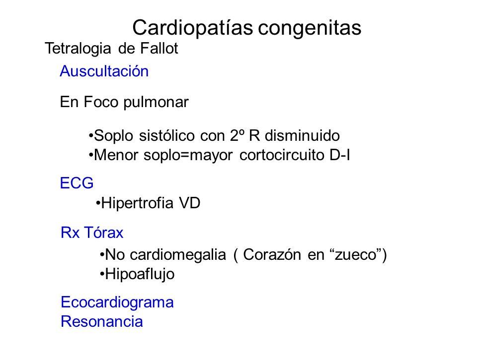 Cardiopatías congenitas Soplo sistólico con 2º R disminuido Menor soplo=mayor cortocircuito D-I Auscultación En Foco pulmonar ECG Hipertrofia VD Rx Tó