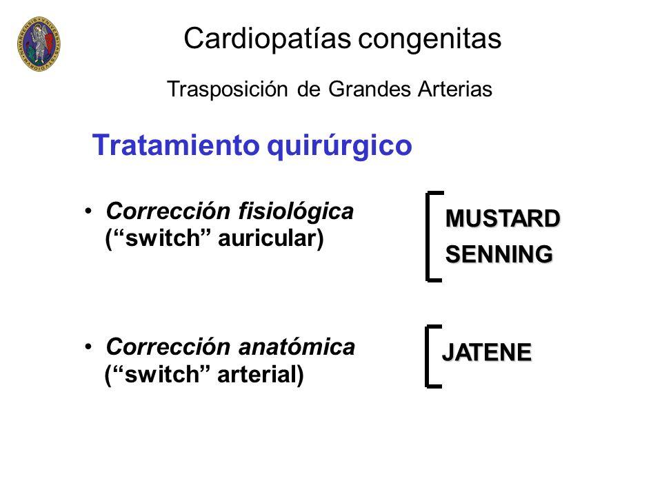 Corrección fisiológica (switch auricular) Corrección anatómica (switch arterial) MUSTARDSENNING JATENE Tratamiento quirúrgico Cardiopatías congenitas