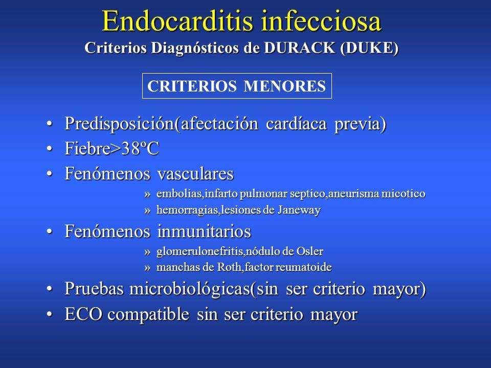 Hemocultivo + para EI Hemocultivo + para EI microorganismo típico en dos hemocultivos separadosmicroorganismo típico en dos hemocultivos separados Vir