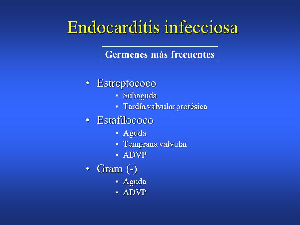 Endocardítis infecciosa 2 mayores2 mayores 1 mayor y 3 menores1 mayor y 3 menores 5 menores5 menores Diagnóstico por criterios clínicos