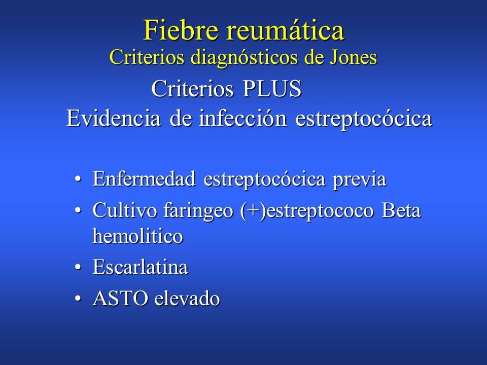 Antecedente de Fiebre reumáticaAntecedente de Fiebre reumática ArtralgiaArtralgia FiebreFiebre VSG alta,Proteina C reactivaVSG alta,Proteina C reactiv