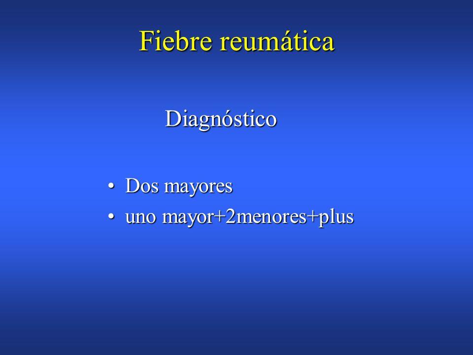 Fiebre reumática Enfermedad estreptocócica previaEnfermedad estreptocócica previa Cultivo faringeo (+)estreptococo Beta hemoliticoCultivo faringeo (+)