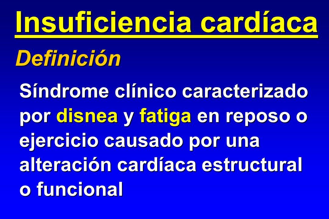 Insuficiencia cardíaca Síndrome clínico caracterizado por disnea y fatiga en reposo o ejercicio causado por una alteración cardíaca estructural o func
