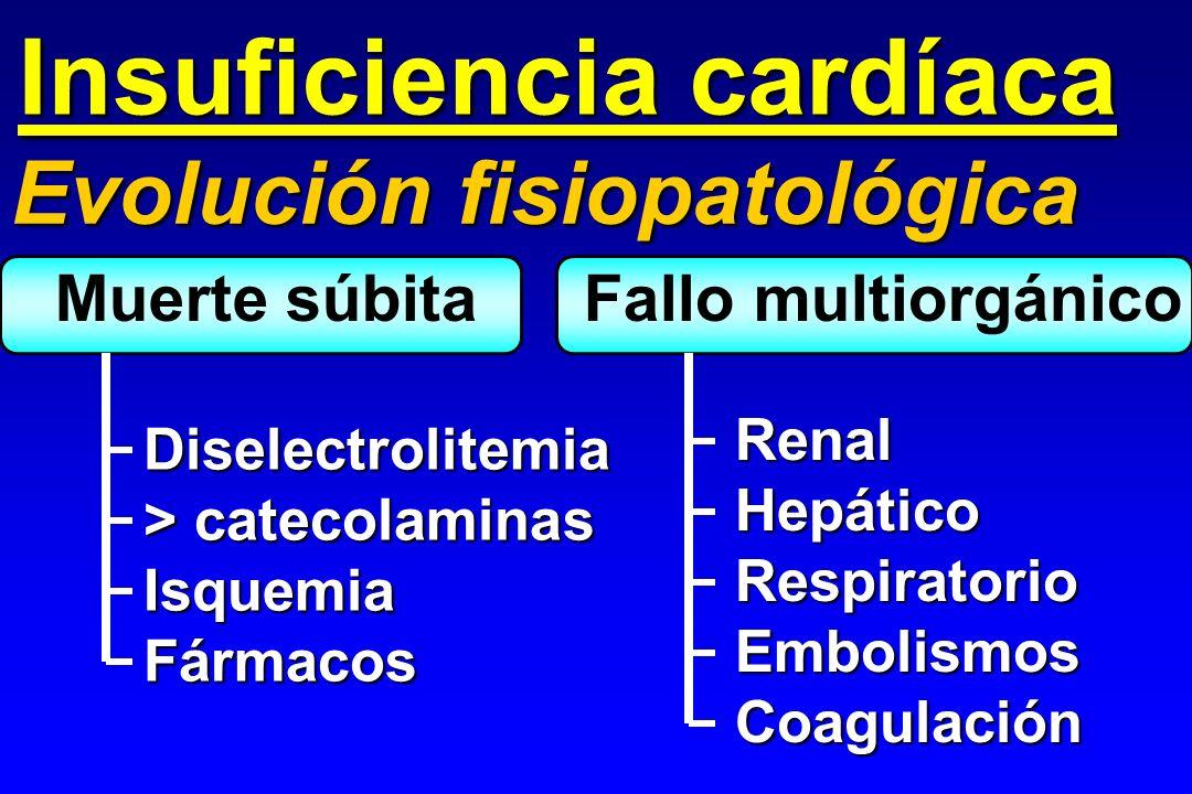 Insuficiencia cardíaca Evolución fisiopatológica Muerte súbita Fallo multiorgánico Diselectrolitemia > catecolaminas IsquemiaFármacos RenalHepáticoRes