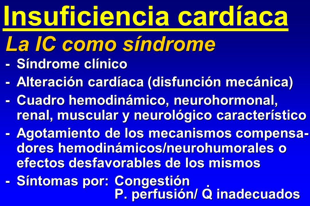 Insuficiencia cardíaca La IC como síndrome -Síndrome clínico -Alteración cardíaca (disfunción mecánica) -Cuadro hemodinámico, neurohormonal, renal, mu