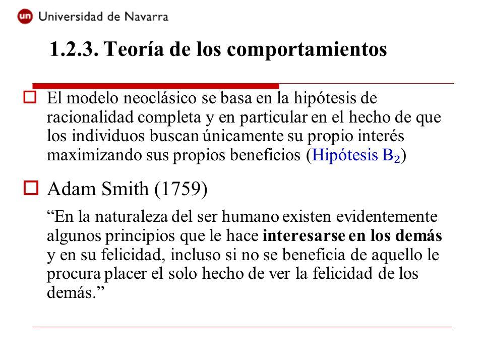 El modelo neoclásico se basa en la hipótesis de racionalidad completa y en particular en el hecho de que los individuos buscan únicamente su propio in