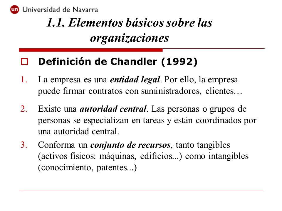 1.1. Elementos básicos sobre las organizaciones Definición de Chandler (1992) 1.La empresa es una entidad legal. Por ello, la empresa puede firmar con