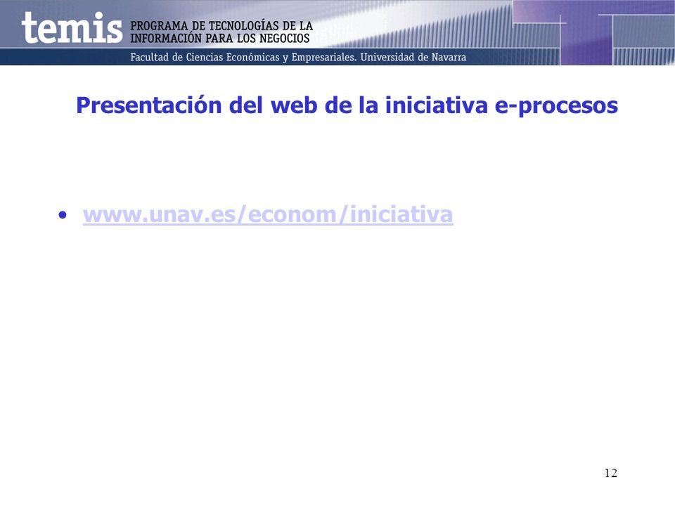 12 Presentación del web de la iniciativa e-procesos www.unav.es/econom/iniciativa