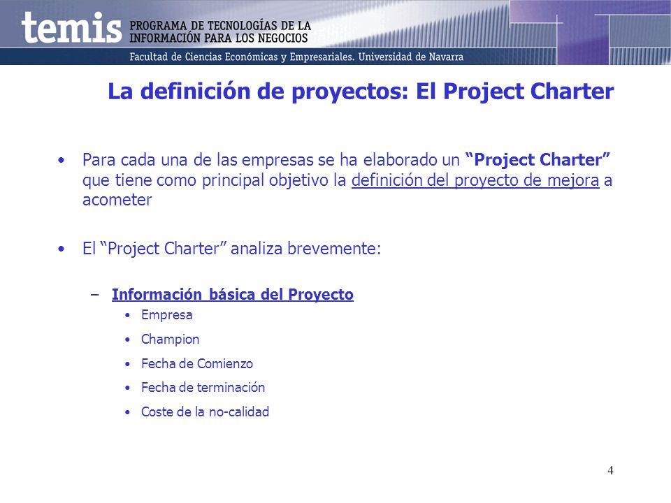 4 La definición de proyectos: El Project Charter Para cada una de las empresas se ha elaborado un Project Charter que tiene como principal objetivo la definición del proyecto de mejora a acometer El Project Charter analiza brevemente: –Información básica del Proyecto Empresa Champion Fecha de Comienzo Fecha de terminación Coste de la no-calidad