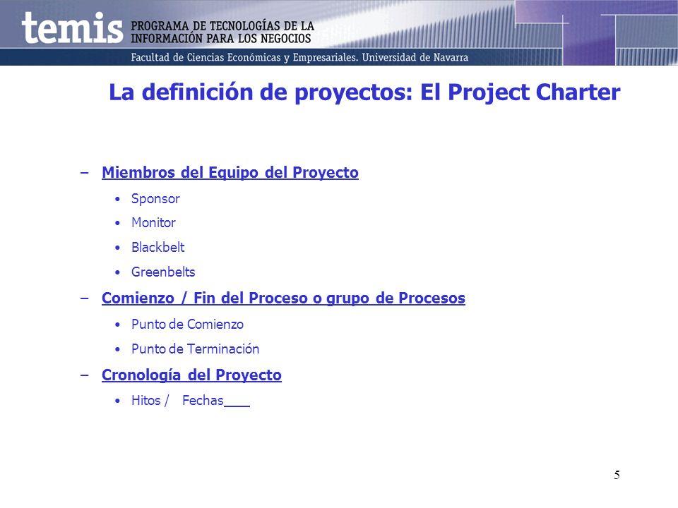 5 La definición de proyectos: El Project Charter –Miembros del Equipo del Proyecto Sponsor Monitor Blackbelt Greenbelts –Comienzo / Fin del Proceso o grupo de Procesos Punto de Comienzo Punto de Terminación –Cronología del Proyecto Hitos /Fechas