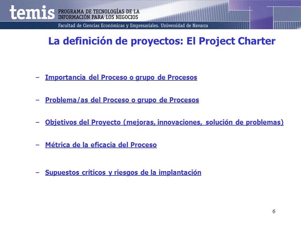 6 La definición de proyectos: El Project Charter –Importancia del Proceso o grupo de Procesos –Problema/as del Proceso o grupo de Procesos –Objetivos del Proyecto (mejoras, innovaciones, solución de problemas) –Métrica de la eficacia del Proceso –Supuestos críticos y riesgos de la implantación