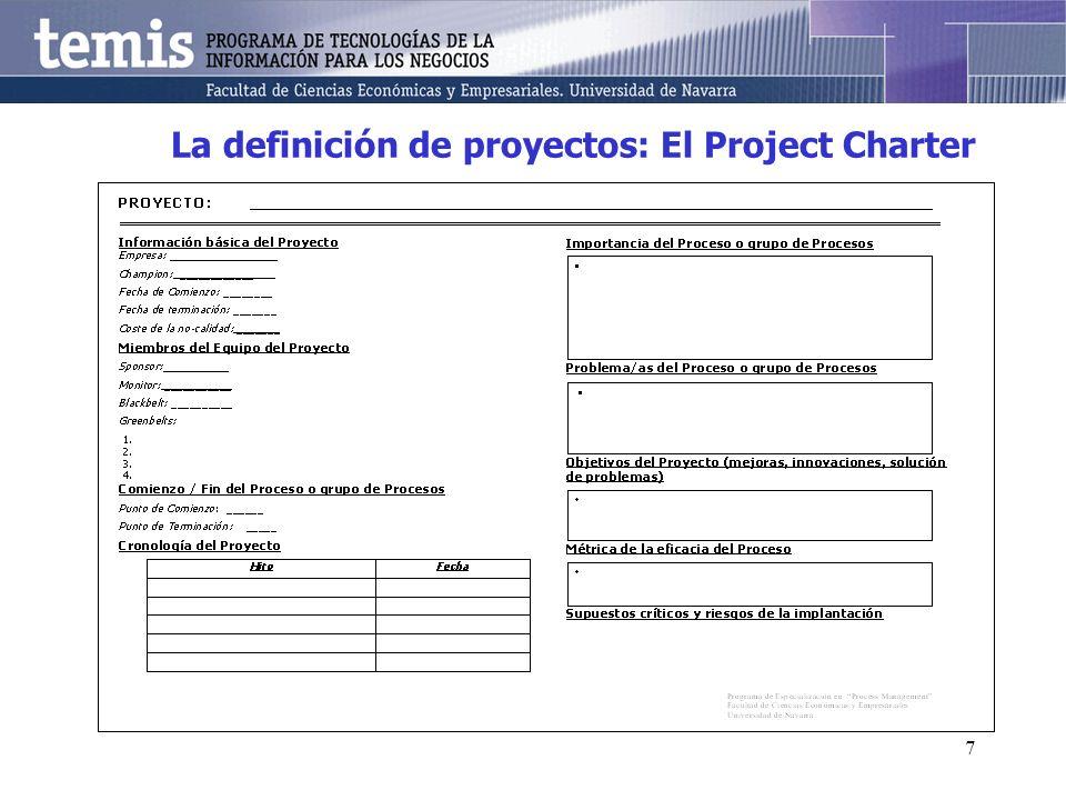 7 La definición de proyectos: El Project Charter