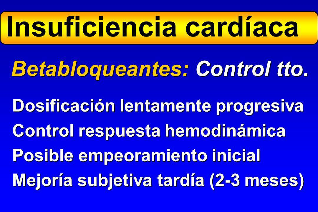 Metoprolol12,5x1100-200x1-2 Bisoprolol1,25x15-10x1 Carvedilol3,125x225-50x2 Betabloqueantes: Dosis Fármaco Inicial Máxima Dosis oral (mg x tomas día)