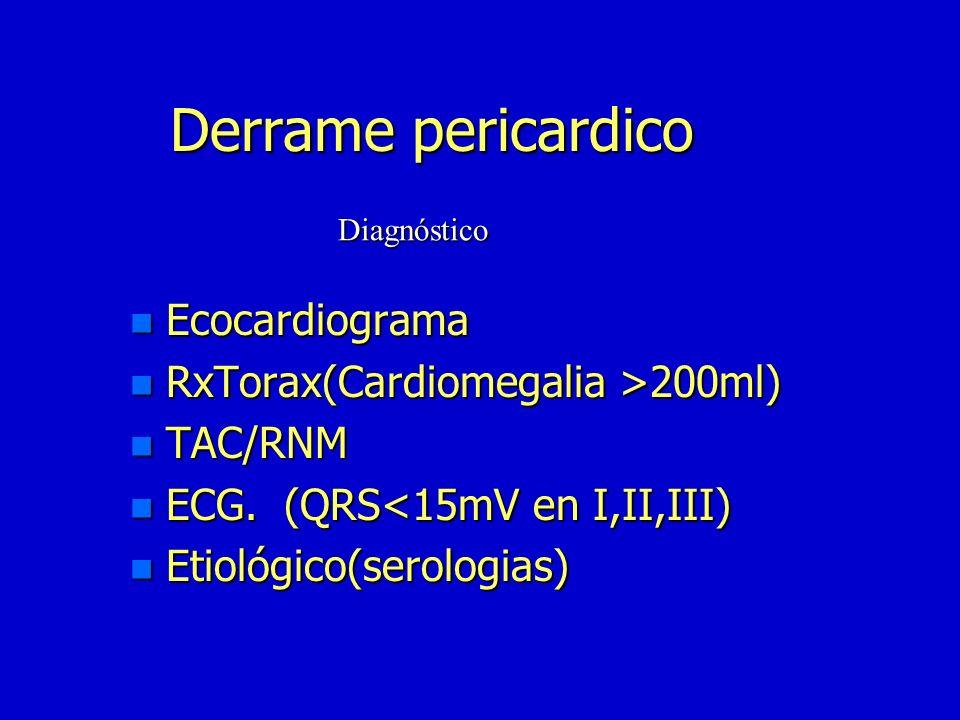 Derrame pericardico n Pericarditis n Trasudación serosa n Hemorragia intrapericárdiaca n Enf.metabólicas n Idiopático n Neoplasias n Autoinmune Etiolo