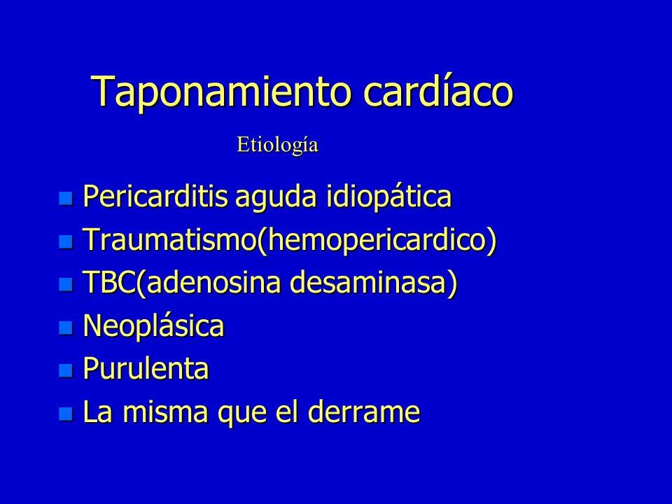 Taponamiento cardíaco n Compromiso hemodinámico secundario a aumento de presión intrapericárdica n <Gasto-shock cardiogénico n Agudo n Crónico Concept