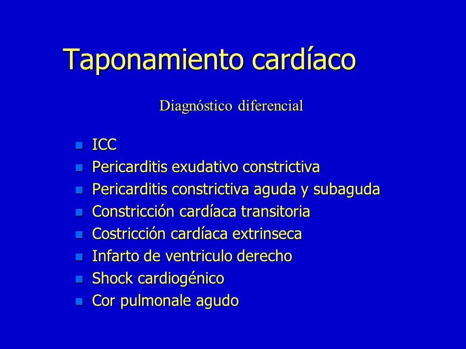 Taponamiento cardíaco n Pericarditis aguda idiopática n Traumatismo(hemopericardico) n TBC(adenosina desaminasa) n Neoplásica n Purulenta n La misma q