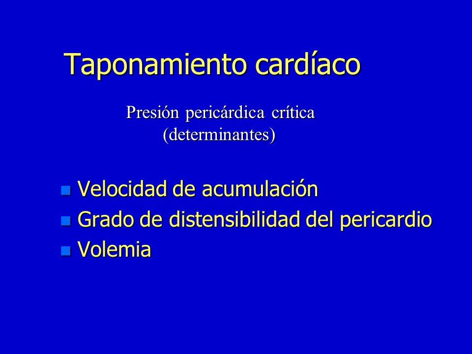 Taponamiento pericardico 100 200 300 Volumen (ml) 30 60 90 120 Presión intrapericárdica mmhg Fisiopatología