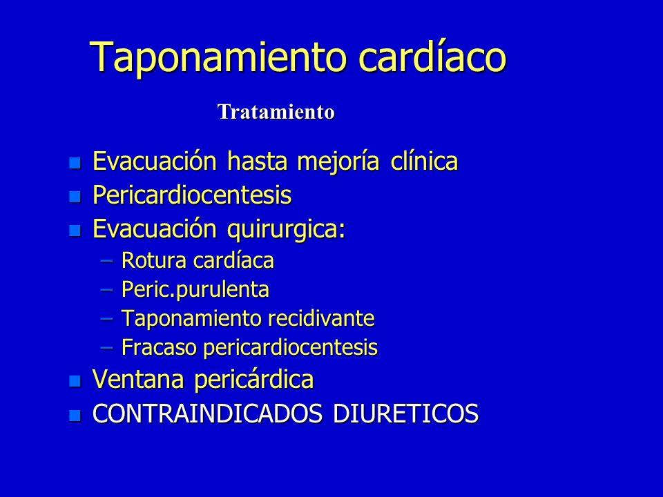 Taponamiento cardíaco n Rx:pocos datos n ECG:bajo voltaje n Cateterismo:>de presión en ambos ventriculos,auriculas,vena cava y cavidad pericardica DIA