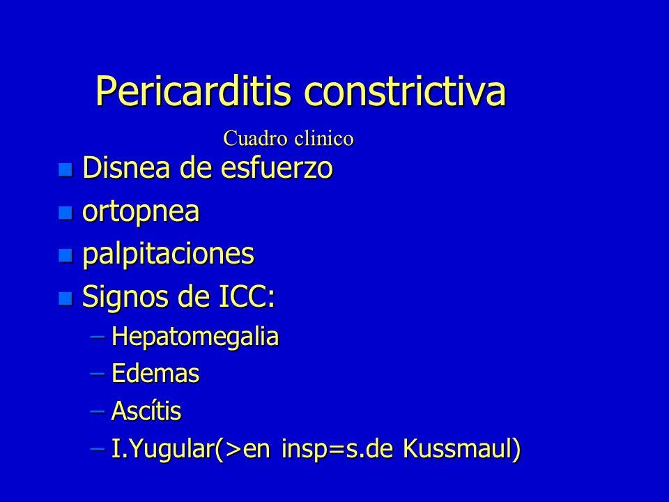 Pericardítis constrictiva n Curva en raiz cuadrada o dip plateau n Similar a miocardiopatía restrictiva n Diagnóstico diferencial: –PTDVI >PTDVD en re