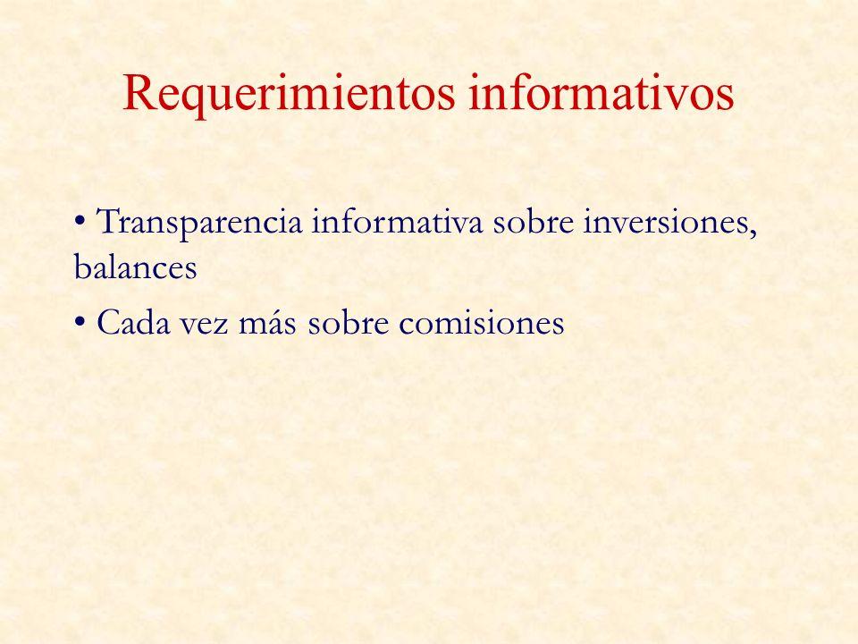 Requerimientos informativos Transparencia informativa sobre inversiones, balances Cada vez más sobre comisiones