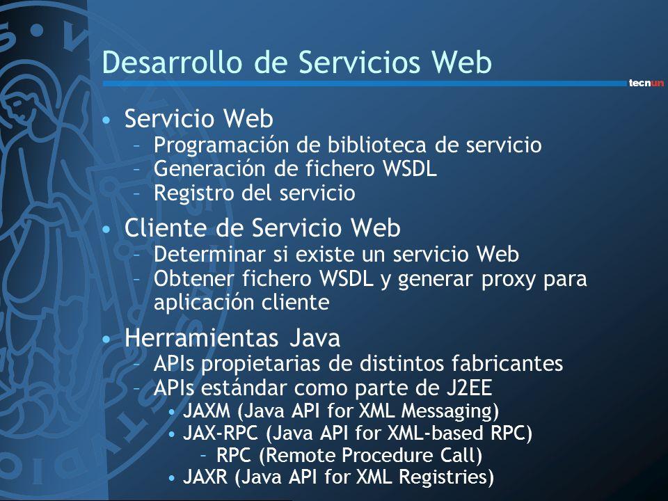 Desarrollo de Servicios Web Servicio Web –Programación de biblioteca de servicio –Generación de fichero WSDL –Registro del servicio Cliente de Servici