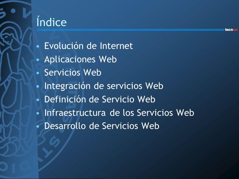 Evolución de Internet Web de documentos –Páginas estáticas –Un enorme repositorio de información –Tecnologías: HTTP y HTML Web de aplicaciones –Páginas generadas dinámicamente –Aplicaciones con interface en entorno Web –Entorno de transacciones comerciales (B2C) –Tecnologías: CGI, ASP, PHP, JSP, Servlets,...