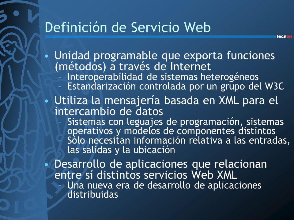 Definición de Servicio Web Unidad programable que exporta funciones (métodos) a través de Internet –Interoperabilidad de sistemas heterogéneos –Estand