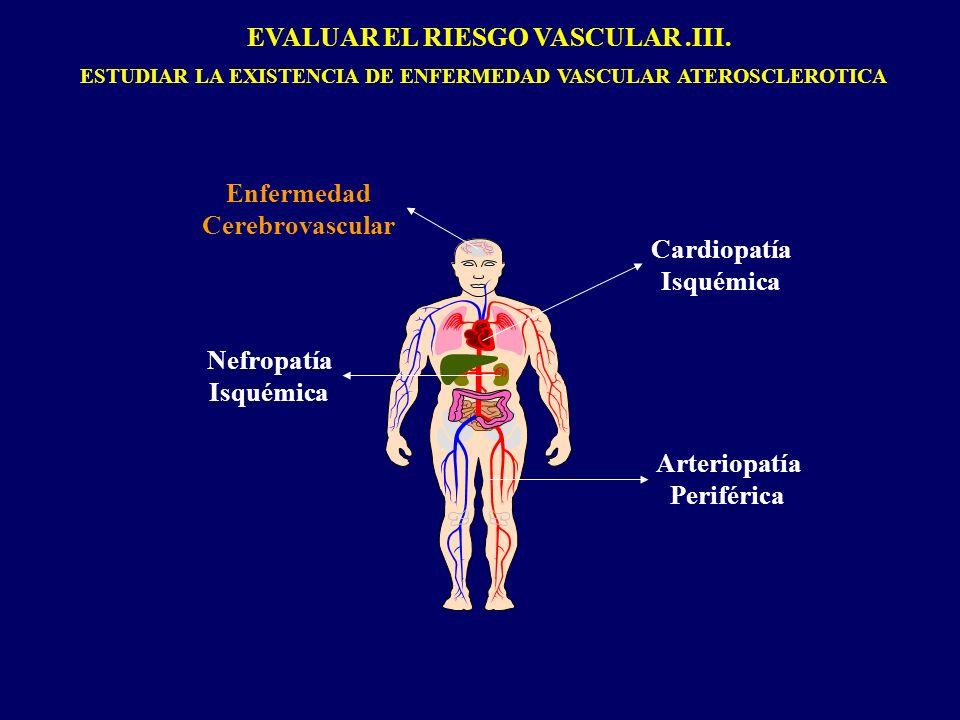 Enfermedad Cerebrovascular Cardiopatía Isquémica Nefropatía Isquémica Arteriopatía Periférica EVALUAR EL RIESGO VASCULAR.III. ESTUDIAR LA EXISTENCIA D