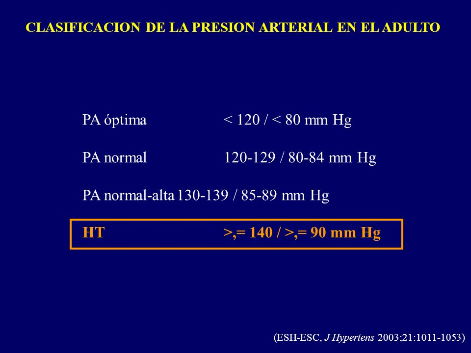 CLASIFICACION DE LA PRESION ARTERIAL EN EL ADULTO (ESH-ESC, J Hypertens 2003;21:1011-1053) PA óptima< 120 / < 80 mm Hg PA normal 120-129 / 80-84 mm Hg