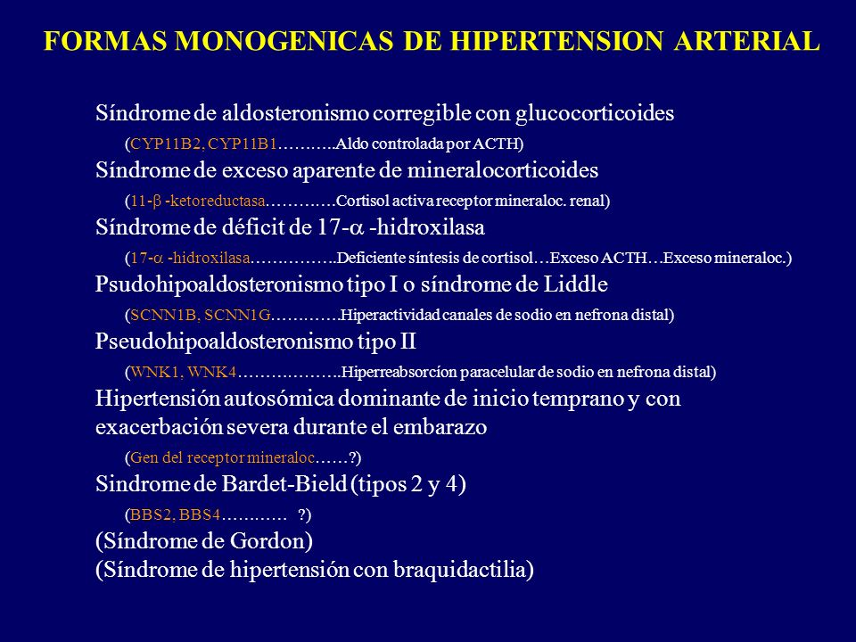 FORMAS MONOGENICAS DE HIPERTENSION ARTERIAL Síndrome de aldosteronismo corregible con glucocorticoides (CYP11B2, CYP11B1………..Aldo controlada por ACTH)