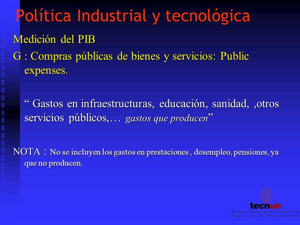 Política Industrial y tecnológica Medición del PIB G : Compras públicas de bienes y servicios: Public expenses. Gastos en infraestructuras, educación,