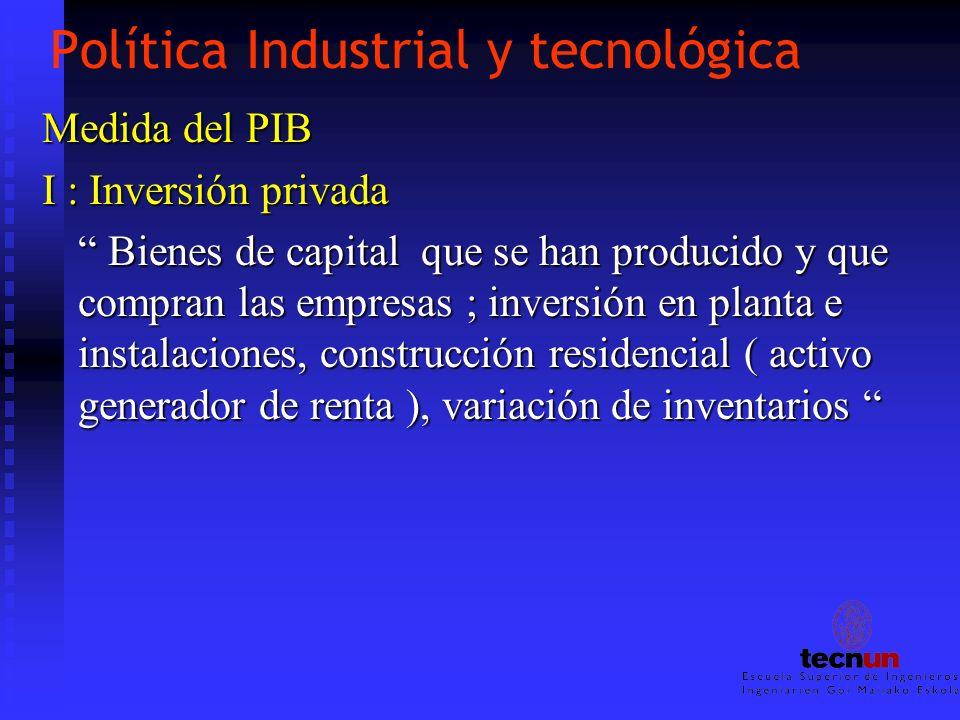 Política Industrial y tecnológica Medida del PIB I : Inversión privada Bienes de capital que se han producido y que compran las empresas ; inversión e
